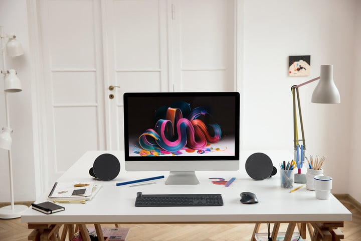 While designed for a desktop, the speakers can also easily pair to an iPhone or iPad.
