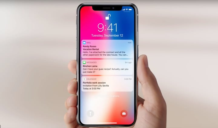 Getting to the camera or flashlight is even quicker on the iPhone X.