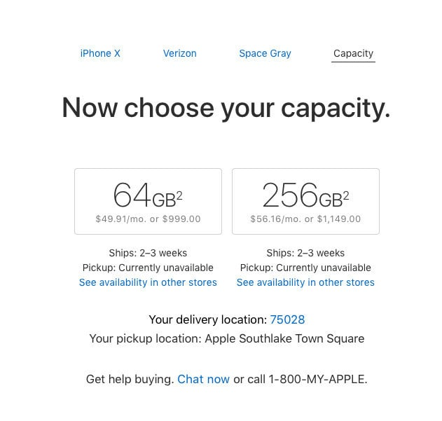 The current wait for iPhone X orders.