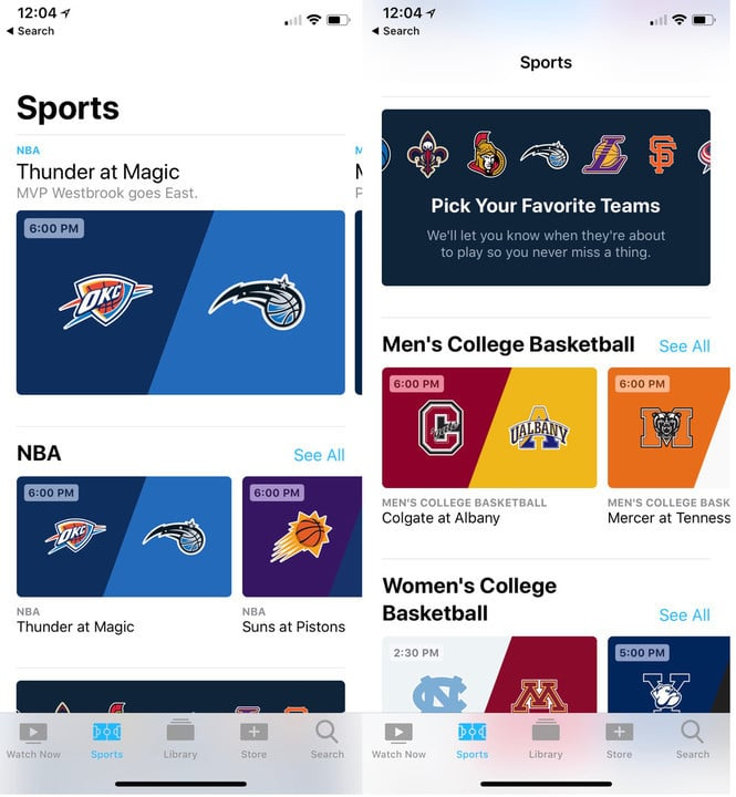 The new Sports section is available in the TV app in iOS 11.2.