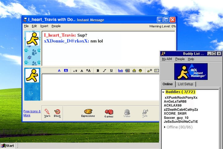 AOL was a hugely popular way to communicate before texting and smartphones became ubiquitous.