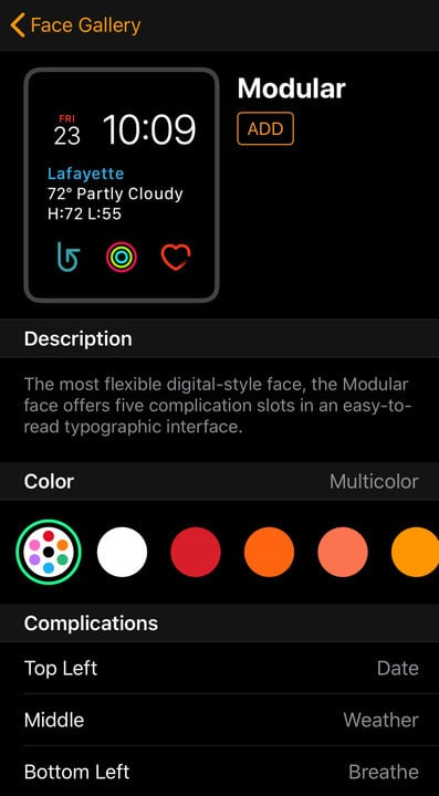 Setting complications is simple with the app. You'll also see a preview of what the face will look like.