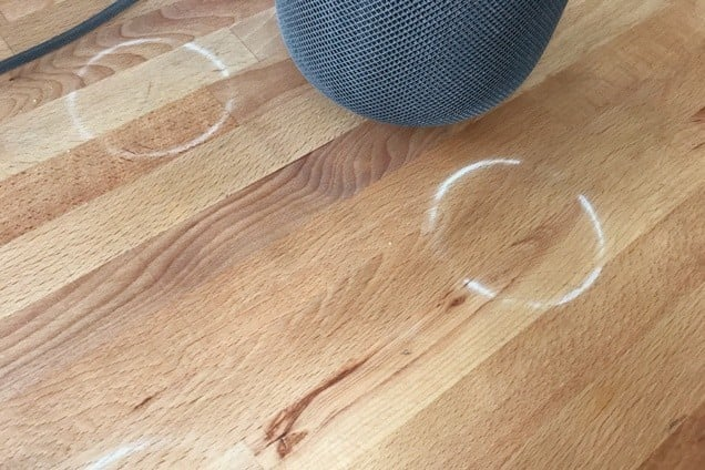 An example of the white rings left on some wood surfaces by the HomePod.