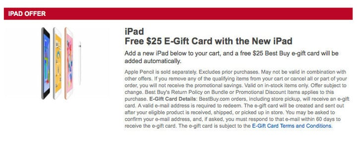 Preorder the new iPad from Best Buy, and you'll receive a $25 e-gift card.