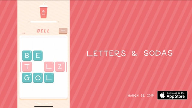 Letters & Sodas is a Sweet Tile Sliding Word Game
