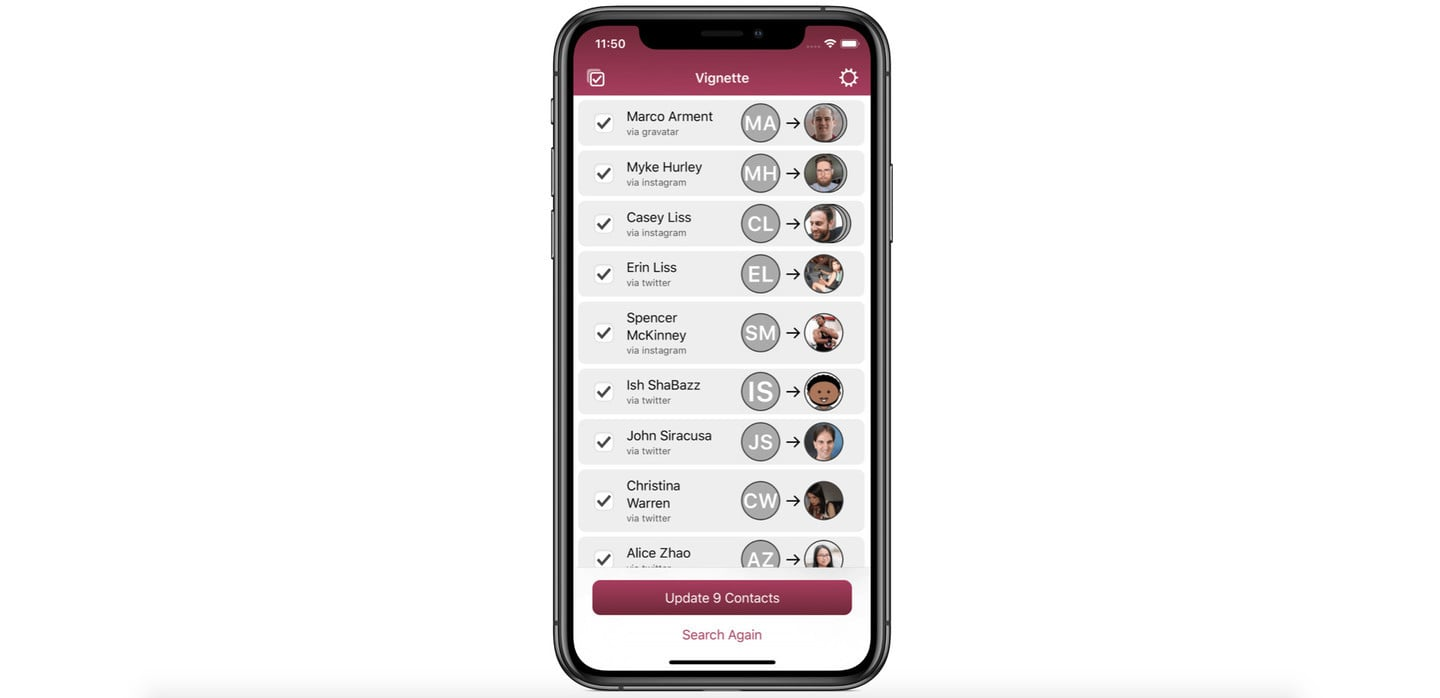 Vignette Uses Public Social Media Accounts to Update Contact Photos