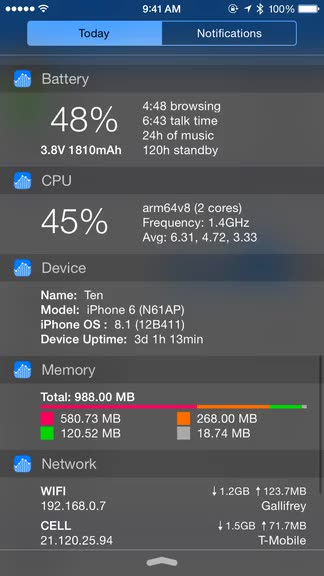 With Omnistat, all of your iOS device stats are just a swipe away