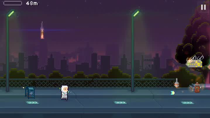 Run, jump, and fire your lasers in Lastronaut, a gorgeous apocalyptic endless runner