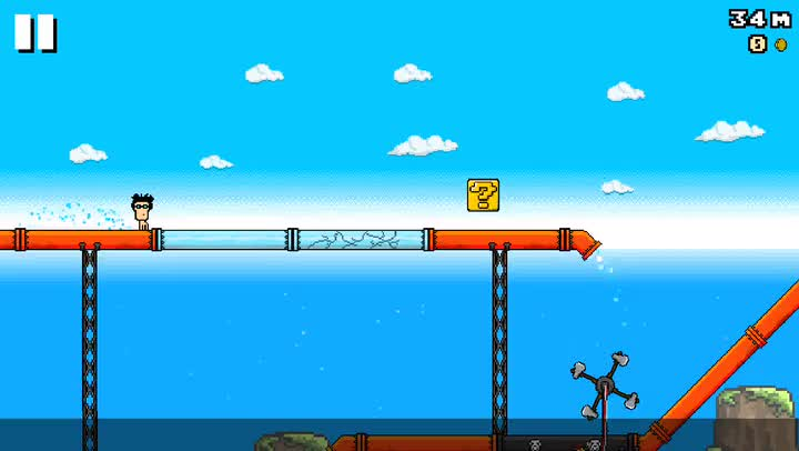 Get ready for one heck of a ride in 8-Bit Waterslide, a humorous infinite runner