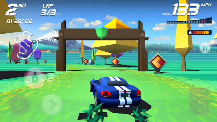 Put the pedal to the metal in Horizon Chase, a retro racer